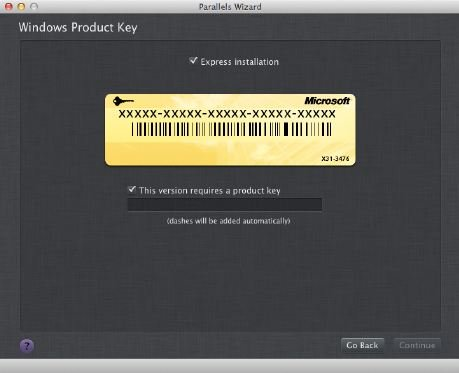 Putting-in-the-product-key Installing and Running Windows on a Mac
