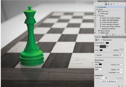 Add-The-Reflection-Photoshop-3D Create A 3D Chess Set with Photoshop