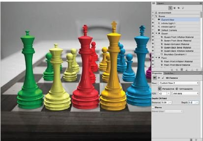 Apply-Shallow-Focus-to-The-Image-Photoshop-3D Create A 3D Chess Set with Photoshop