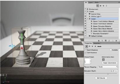 Fit-The-Chess-Piece-Photoshop-3D Create A 3D Chess Set with Photoshop