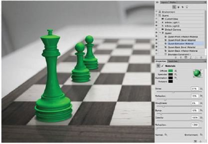 Match-The-Chess-Material-Photoshop-3D Create A 3D Chess Set with Photoshop