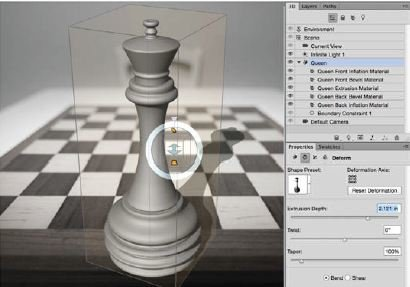 Rotate-The-Extrusion-Photoshop-3D Create A 3D Chess Set with Photoshop