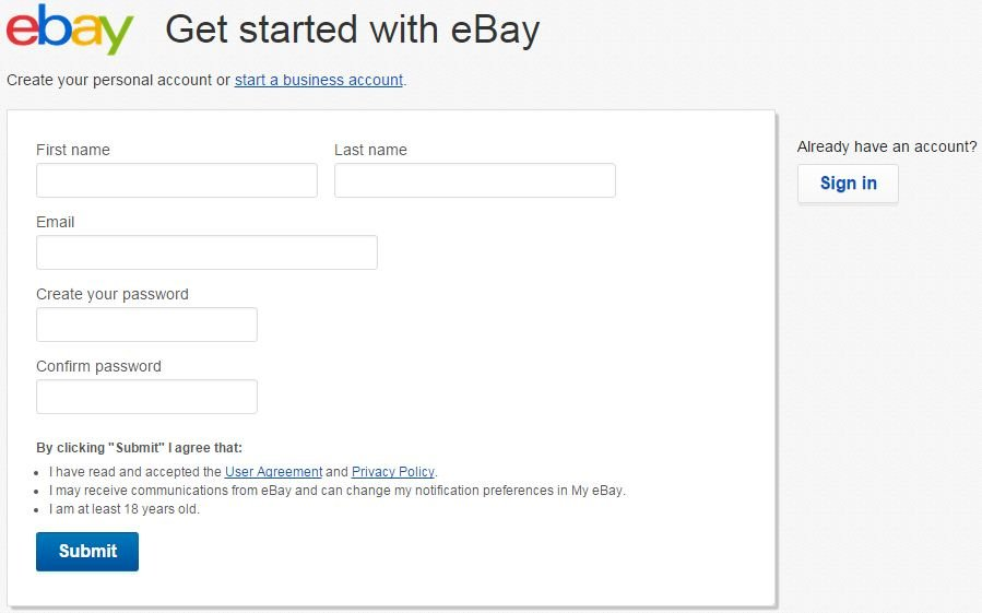 Registration-Form-eBay How To Setup eBay Account