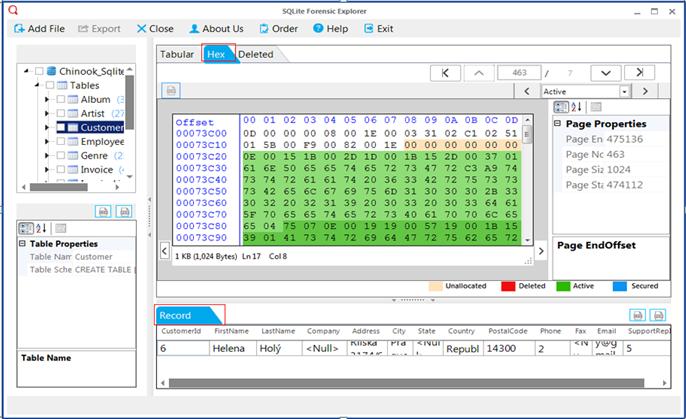 SQL-Forensic-Explorer-2 Forensics Analysis of SQLite Database
